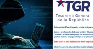 MEDIANTE CORREO ELECTRÓNICO Y USANDO LA IMAGEN DE LA TESORERÍA GENERAL DE LA REPÚBLICA REALIZAN ESTAFA A PENSIONADOS
