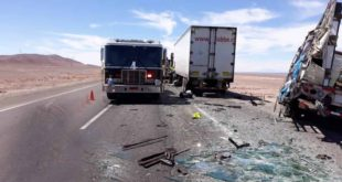 ACCIDENTE ENTRE CAMIONES DEJA 1 FALLECIDO Y 1 HERIDO EN RUTA 5
